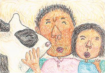 金賞「うしとパパとわたし」堤 由貴美子(6)兵庫県