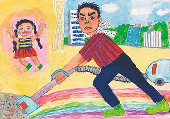 銀賞「掃除機をかけるお父さんは特別に大まじめな顔になるよ。」佐々木 尊子(7)東京都