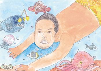 佳作「水泳が上手なお父さん」有田 幸樹(小3)大阪府
