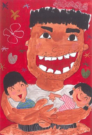 文科大臣賞「おとうさんのおひざが大好き」湯浅 聡一郎(5)徳島県