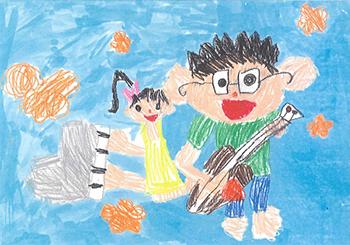 佳作「わたしがピアノで父ちゃんがギター!!」伊藤 楓歩(5)愛知県