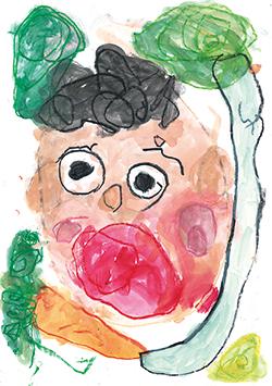 金賞「おっきなだいこん、にんじん、ピーマン!とうちゃんビックリしてる!たいちゃんロールケーキプレゼントしたよ」嶋 泰源(3)和歌山県