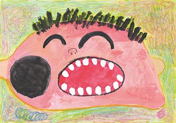 文科大臣賞「おーっきいイボのあるだいすきなパパが笑っているところ」難波 竜大(4)岡山県