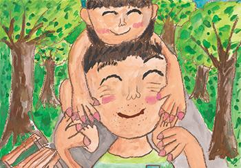 FDC会頭賞「かたぐるまをしてくれるパパ」小谷 優維(8)徳島県