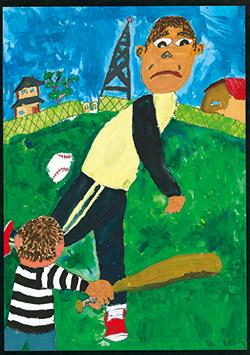 金賞「野球選手みたいなフォームで投げるお父さん」大聖寺 煌(10)神奈川県