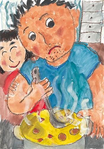 文科大臣賞「パパのカレーづくり」高森 千遥 (7)神奈川県